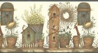 Wallpaper Border Designer Birdhouse & Pottery Bench Birds Blue Trim