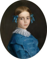 Classic Oil painting female portrait beautiful young girl in blue cloth canvas
