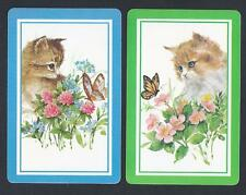 #100.616 vintage swap card -MINT pair- Kittens with butterfly, blue & green