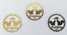30- Classic Round Shape Squirrel Wedding Envelope Stickers/Seals-Gold or Silver