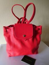 New Longchamp Le Pliage Leather Mini Cuir Backpack -Cherry - Dust Bag Included.