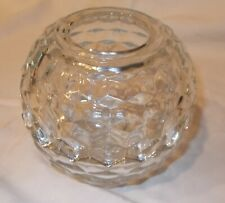 """Homco Clear Glass 2 Piece Round """"Fostoria like"""" Cubist Fairy Lamp Candle Holder"""