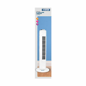 "Status 29"" White Tower Fan - Oscillating - 3 Speed Settings"