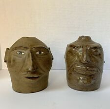 2 Face Jug lot Stoneware Pottery Tom Touchstone Armuchee GA Turkey Mt. Pottery