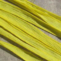 Bright Yellow Crinkle Silk Ribbons Hand Dyed 5 JamnGlass Bridal Wedding Strings