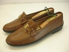 Women's 7.5 C W Wide Salvatore Ferragamo Brown Leather Flat Shoes Loafer Slip-On