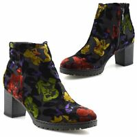 Ladies Womens Casual Mid Block Heel Zip Up Chelsea Flower Ankle Boots Shoes Size