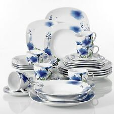 VEWEET LAURA 30-Piece Porcelain Dinner Set Tableware Soup Side Plate Cup Saucer