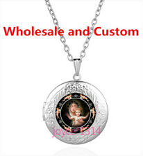 Virgin Mary Cabochon Tibetan silver Glass Locket Pendant Necklace HZ-4489