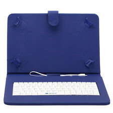 "For 10.1"" Tablet iRULU Stand Case Blue Skin USB Keyboard PU Leather Cover New"