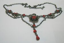 Lovely dark tone metal chain red stone flowers approx 42 - 46 cm long