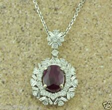 18k Solid White Gold Natural Oval Ruby & Diamond Pendant Cocktail 3.51 Carats