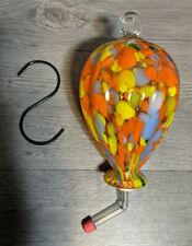 "New listing 7"" Hand Blown Glass Hummingbird Feeder Orange Yellow Ornament Fall Garden Decor"