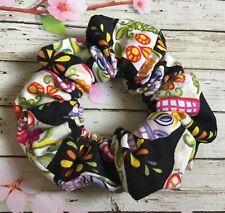Black candy skull cotton fabric hair scrunchie ponytail bun band stretch elastic