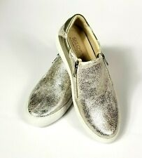 NWT SKECHERS (SN 49764) Women's Gold Vaso Brillo Zip-Up Casual Loafer, Size 7.5