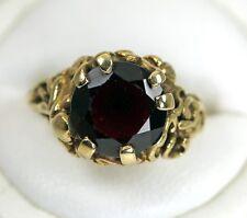 "Exquisite Vintage 5.75cts Garnet Ring 10K Gold Very Detailed Hallmark ""SPRING"""