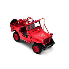 Norev 1:18 Scale JEEP WILLYS Fire Department Vehicle Collectible Car Model