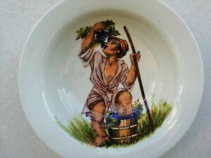 Ceramica artistica Pavon Andrea grande piatto smaltato VENDEMMIA dipinto 35 cm