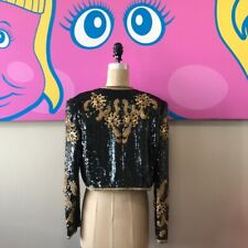 Victor Costa black Gold Sequin Embroidered Jacket Vintage 1980s