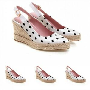 Pointy Toe Casual Women Summer Ankle Strap Slingbacks Polka Dot Dating Shoes Hot