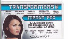 MEGAN FOX ID card Drivers License - TRANSFORMERS Teenage Ninja Mutant Turtles