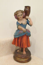 S38 antique plaster statue lady holding urn grapes apron