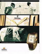 PUBLICITE ADVERTISING 075 2004  la  montre FESTINA AUTOMATIC escrime