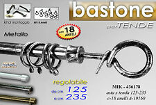 Asta bastone per tende in ferro battuto 125*235 regolabile con accessori