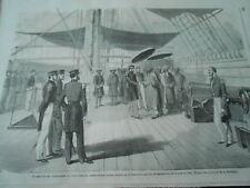 Gravure 1863 - Cochinchine visite faite au Contre Amiral Jaurès La Sémiramis