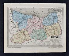 1864 Le Bealle Map France Department Calvados Caen Honfleur Bayeux Lisieux Vire