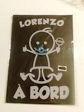 PANNEAU PLASTIFIÉ VOITURE BEBE A BORD avec ventouse prénom lorenzo