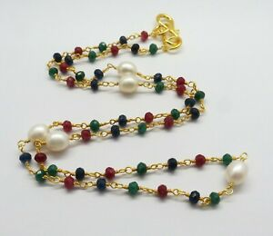 Necklace Beaded Natural Gemstone Multi Chain 22K Gold Rosary Chain 19 Inch Long