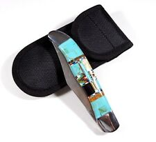"""Double Blade Pocket Clip Knife with Multicolor Inlay & Turquoise 9"""" long open."""
