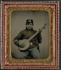 Photo Civil War Union Soldier Union Cavalry Uniform Banjo Sword and Smoking Pipe