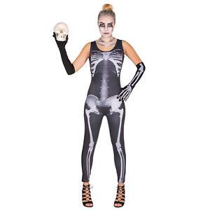 Goodstoworld Costume Scheletro di Halloween Donna Skinny Elastico Leggins Collant Tuta Costumi
