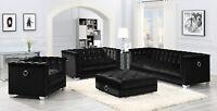 Modern Hollywood Glam Living Room 3-Piece Sofa Loveseat Chair Set Black Velvet