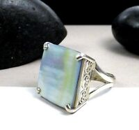 Stunning Designer Sterling Silver 925 Abalone Shell Cocktail Band Size 7 Ring