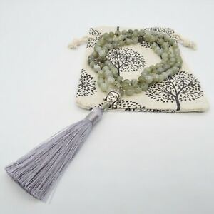 Labradorite 108 Mala Beads Meditation Prayer Rosary Necklace Chakra Reiki 6mm UK