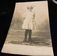 REAL PHOTO RPPC LITTLE GIRL IN White DRESS AND HAT c1910 Postcard
