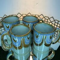 4 El Polmar Coffee Mugs Cups Lotus Flower Pottery Vintage Mexico Mint Lot 4 #M