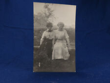 RPPC 2 Young Ladies Friends On Bench By Field BIG CROSS Lots of Hair