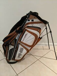 Ping Latitude Golf Bag Carry Stand Bag - Brown White Black