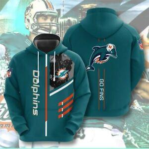 Miami Dolphins Hoodie Men's Sports Sweatshirt Pullover Football Hooded Jacket