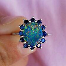 Australian Lightning Ridge Black Opal Natural Sapphire 14K Gold Ring Halo Size 7