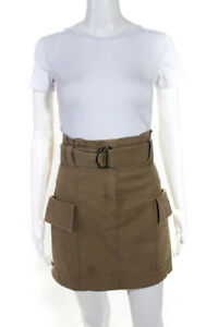 A.L.C. Womens Cotton Blend Cargo Pocket Belted Mini Skirt Brown Size 6