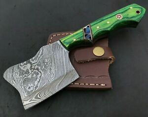 Handmade Damascus Steel Viking Axe-Camping-Outdoors-Leather Sheath-MD139