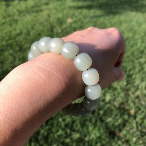 Very Creamy Authentic Genuine Xinjiang Hetian Nephrite Jade bead Bracelet E301