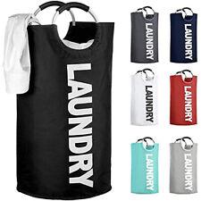 Large Foldable Laundry Basket 82L Foldable Bag Oxford Fabric Hamper (Black)