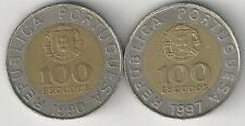 2 BI-METAL 100 ESCUDO COINS from PORTUGAL DATING 1990 & 1997