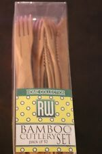 Bamboo Knife, Fork, and Spoons Cutlery Set Restaurantware 8-inch 10 Sets